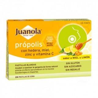 JUANOLA PASTILLAS BLANDAS PROPOLIS/HIEDRA SABOR MIEL/LIMON 24 U