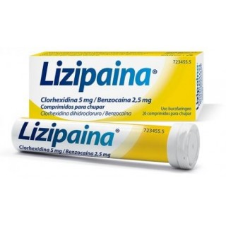 LIZIPAINA CLORHEXIDINA/BENZOCAINA 5 mg/2,5 mg 20 COMPRIMIDOS PARA CHUPAR (TUBO)
