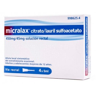 MICRALAX CITRATO/LAURIL SULFOACETATO 450 MG/ML + 45 MG/ML SOLUCION RECTAL 4 ENEMAS 5 ML