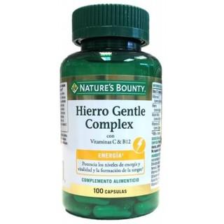 NATURES BOUNTY HIERRO GENTLE COMPLEX CON VITAMINAS C Y B12 100 CAPSULAS