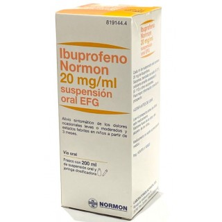 IBUPROFENO NORMON EFG 20 mg/ml SUSPENSION ORAL 1 FRASCO 200 ml