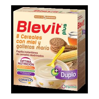 BLEVIT PLUS DUPLO 8 CEREALES CON MIEL Y GALLETAS MARIA 600 G