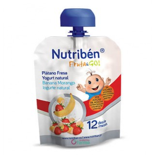 NUTRIBEN FRUTA & GO PLATANO, FRESA Y YOGURT NATURAL 90 G