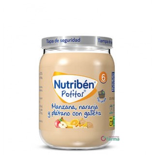 NUTRIBEN POTITO MERIENDA MANZANA NARANJA Y PLATANO CON GALLETA 190 G