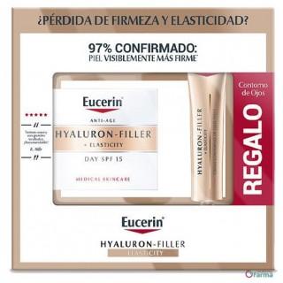 EUCERIN PACK HYALURON FILLER+ ELASTICITY CREMA DIA FPS 15 50ML+ CONTORNO OJOS 15 ML GRATIS